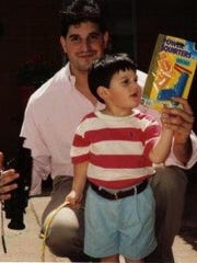 Michael Mahtook in 1992 with his son Mikie Mahtook,