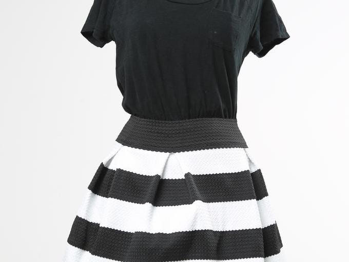 <p>Black and white are wardrobe  staples. Pair them with stripes and you've got a winner. $22.99 at Target.</p>