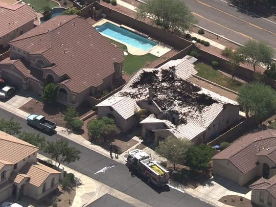 A Laveen home damaged in a lightning strike, Sept. 8, 2014