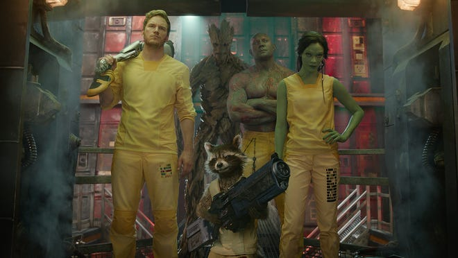 """Intergalactic convicts Peter Quill (Chris Pratt), Groot (voiced by Vin Diesel), Rocket Racoon (voiced by Bradley Cooper), Drax the Destroyer (Dave Bautista) and Gamora (Zoe Saldana) look to break out of the Kyln in """"Guardians Of The Galaxy."""""""