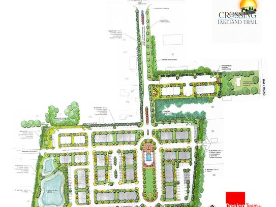 A preliminary site plan for The Crossing at Lakeland
