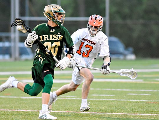 York Catholic's Brennan Witman, left, drives the ball