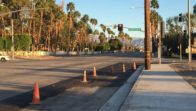 Sidewalk repairs will wrap up Monday on Indian Canyon Drive at Racquet Club Road. Work will continue between San Rafael Drive and Simms Road.
