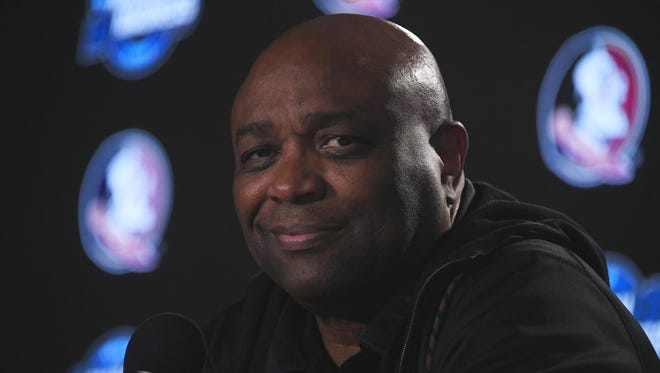 Florida State coach Leonard Hamilton speaks during a news conference for the West regional semifinals in the NCAA tournament at Staples Center in Los Angeles.