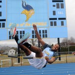 Cape Henlopen senior Deandre Sheppard warms up during practice for the high jump Wednesday, Feb. 3.