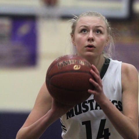 Brossart freshman Marie Kiefer shoots a foul shot...