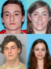 Murder suspects Jordan Paul (clockwise from top left), Allison Gee, Myia Barber and Erik Averill. The four were arrested in San Diego in 2016.