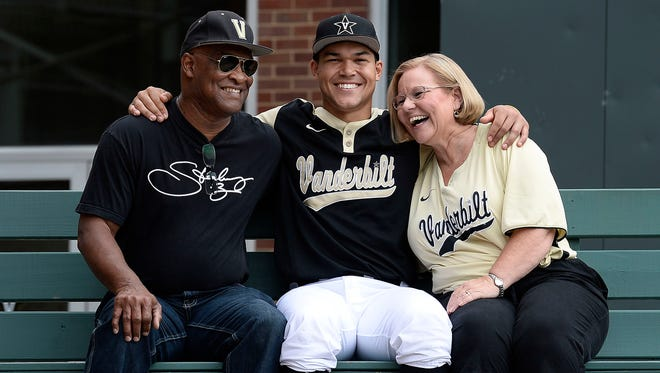 Vanderbilt first baseman Zander Wiel sits with his parents, Connie and Randy Wiel, before a game at Hawkins Field.
