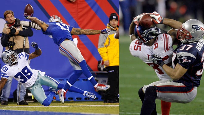 LEFT: New York Giants wide receiver Odell Beckham Jr. (13) makes a one-handed catch for a touchdown against Dallas Cowboys cornerback Brandon Carr (39) in the second quarter of an NFL football game, Sunday, Nov. 23, 2014, in East Rutherford, N.J. (AP Photo/Kathy Willens); RIGHT: New York Giants receiver David Tyree (85) makes a 32-yard reception as New England Patriots safety Rodney Harrison (37) defends during the fourth quarter of the Super Bowl XLII football game at University of Phoenix Stadium on Sunday, Feb. 3, 2008 in Glendale, Ariz. (AP Photo/Matt Slocum)