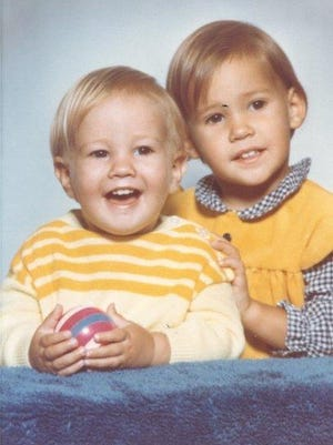 Christian Schneider, pictured with his late sister, Sonja Schneider, who was killed in a tornado in northern Wisconsin when she was 5.