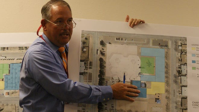 Construction Management Director Herb Borden presenting a conceptual plan for improvements at Chaparral Elementary School during the Dec. 21 school board meeting.