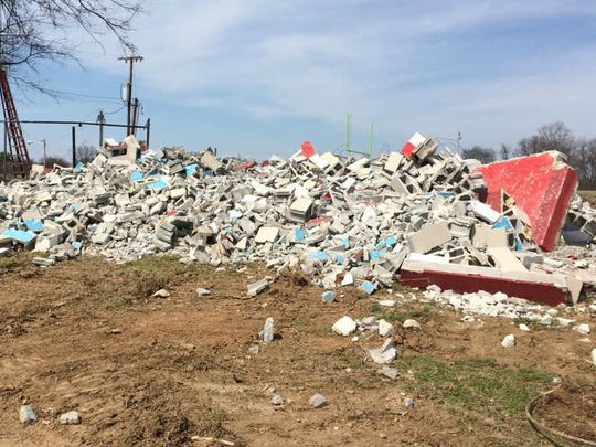 The restrooms and concession stands at Glencliff have been demolished so that new ones can be built as part of the school's outdoor athletic renovation project.