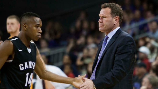 "Grand Canyon coach Dan Majerle, instructing Akachi Okugo, is a Phoenix sports legend after playing eight seasons with the NBA Suns. He jumped at the chance to coach the ""Antelopes."""