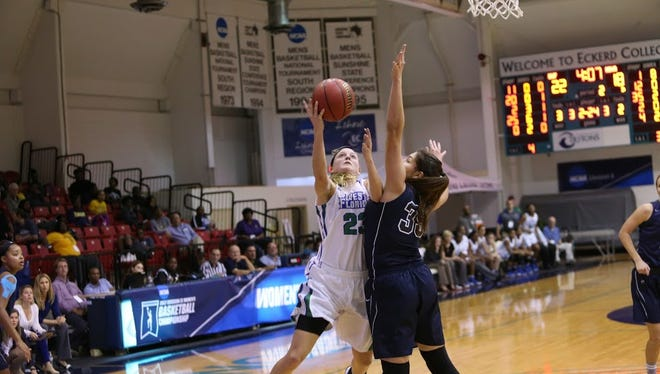 Katie Bobos goes up for a shot Friday against Nova Southeastern in the NCAA South Region. UWF won and set a new school record for most victories (26) in one season.
