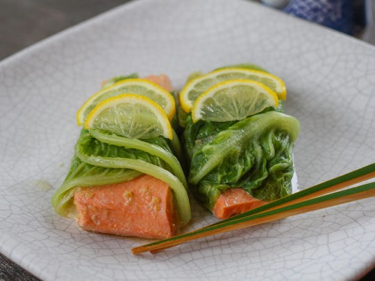 Steamed salmon wrapped with Romaine leaves is a wonderful way to enjoy salmon and Romaine.