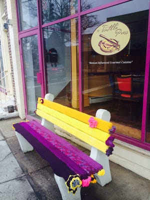 Tortilla Press got a facelift today from this beautiful bench yarn bombed by Christina McLean, a borough fiber artist.