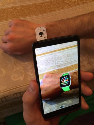 A view of the ARWatch app that shows users what the Apple Watch would look like on their wrist.