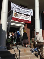 Banners commemorating the 175th anniversary of Franklin