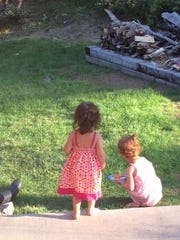 """Watching bunnies with her cousin. """"Here bunny, bunny"""""""
