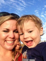Sarah Pearson Crawford poses with her little boy, Jack, before her death.