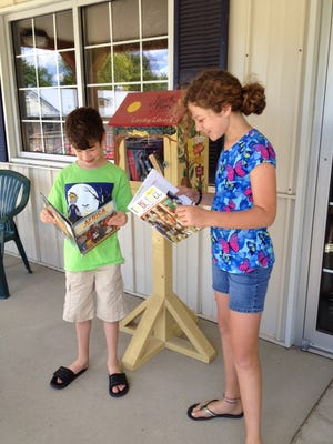 Harrison and Hayden Mason pick out books they will borrow from the Little Free Library at Just Fare Market.