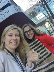 Greater Des Moines Partnership leaders Tiffany Tauscheck and Sophia Ahmad went shoe-shopping to help some out-of-towners the day before the Iowa caucuses.