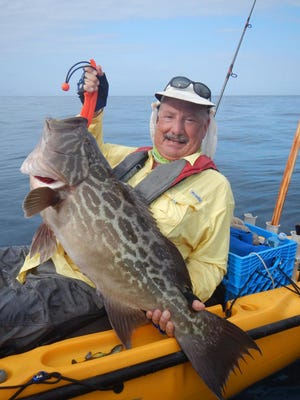 Mitch Roffer of Melbourne Beach was fishing in deep water from a kayak off the coast of Panama when he released this estimated 25-pound broomtail grouper. Roffer was among a group of U.S. fishermen led by Panamanian guide Pascal Artieda from Panama Kayak Adventures.