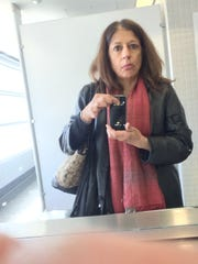 Selfie in airport bathroom