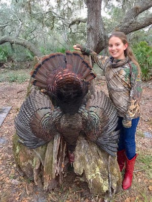 Ana Gent of West Melbourne took her first gobbler during the 2015 season while hunting with her father, Brian Gent, on private land. She downed the bird with a single shot using a 12-gauge Benelli shotgun. Ana, now 12, has been hunting and fishing with her dad since she was 4.