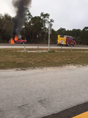 A truck fire slowed traffic on I-75 about 8:30 a.m. on Tuesday, March 15, 2016  near Bonita Beach Road.