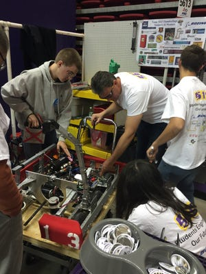 Alamogordo's FRC Team Thunderdogs #5613 assemble their robot for competition in Lubbock, Texas April 1-3.