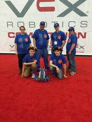 The Delhi Charter School team at Vex Worlds is (back