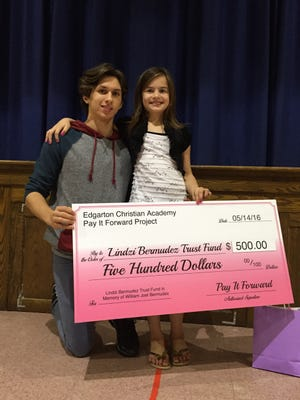 Nickolas Casalinuovo, 14, an eighth-grader at Edgarton Christian Academy in Newfield, used his Pay It Forward Project to help his friend Lindzi Bermudez.
