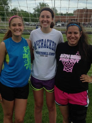 Bath girls soccer seniors, from left, Clayr Owens, Lindsey Brown and Stephanie Hilts.