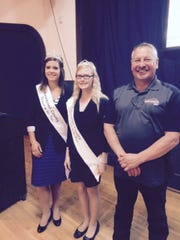 From left, Liz Gilson, Fairest of the Fair, Abbi Kittleson, Junior Fairest of the Fair,  with John Pagel  who will host this year's Breakfast on the Farm on June 19.