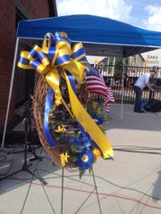 A memorial is set up in the Depot District of Smyrna