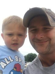 Dillion Wyckoff of Madrid and his son Mason, who died at age 2.
