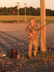 SFC Ronald Busbin prepares for his dove hunt.