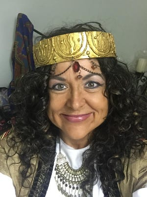 Robyn Lea, a Winnsboro native, portrays the three women in the play. Here she is in costume as Rahab.