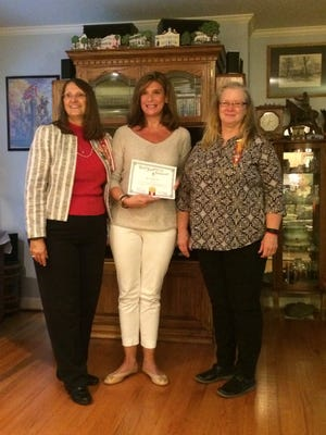 Shown are, from left, Winnie Davis 442 Chapter President Pamela Durham of Greenville, Page Rice of Belton, and Chapter Historian Nancy Austin of Pelzer.