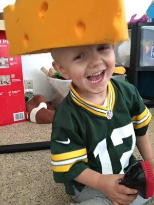 He's not just sporting the Green Bay Packers colors.  Four-year-old Packer Jay Linville also shares a name with his favorite team.
