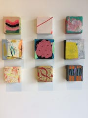 """Nine little abstract paintings by Adam Farmer in """"The Tiny Show"""" at Jay Etkin Gallery."""