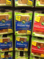 Green Dot cards are on display at a Collierville Walgreens