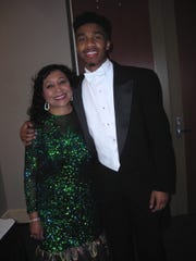 "Mattye C. Lane and her grandson, Beautillion ""Mr. Beau"""