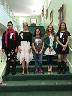 The Abilene Woman's Club honored its Girls of the Month for January at its Feb. 18 meeting. From left: Jennika Willis, Clack Middle School; Ella Thomas, Craig Middle School; Stasha Younquist, Madison Middle School; Madisyn Slack, Mann Middle School; and Mason Lambert, Wylie Junior High School.
