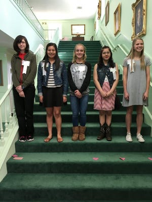 The Abilene Woman's Club honored its Girls of the Month for February at its Feb. 18 meeting. From left: Leah Hill, Clack Middle School; Marisela Rocha, Craig Middle School; Mollie Davis, Madison Middle School; Danyella Gutierrez, Mann Middle School; and Emma Melton, Wylie Junior High School.
