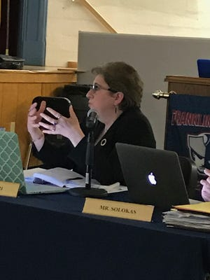 Franklin Lakes Schools Superintendent Lydia Furnari outlines redistricting options for the borough's elementary schools at a meeting Tuesday night.