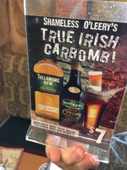A table ad for one of the specialty drinks at Shameless O'Leery's.