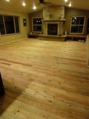 The floor is six-inch wide Flathead Lake circle-saw