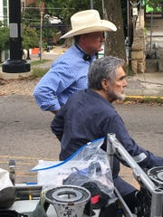 "Gordon Whitener and Burt Reynolds while filming ""Dog Years"" in Knoxville."